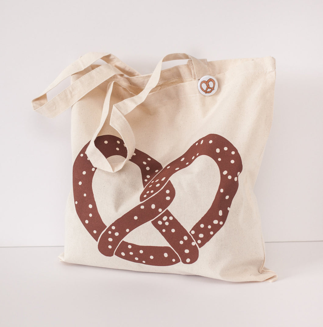 I love Pretzel silkscreened Cotton Canvas tote - lovefactorynewyork