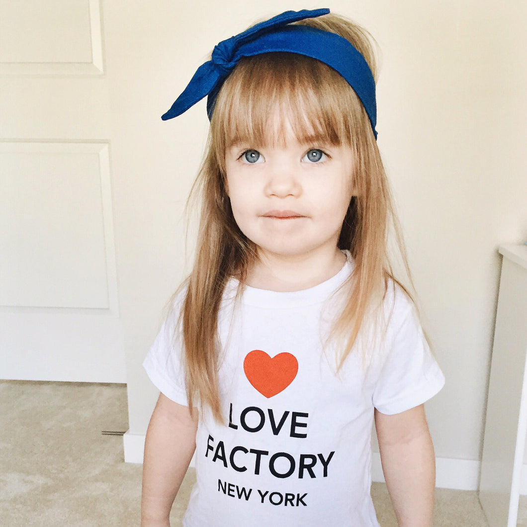 LOVE FACTORY NEW YORK heart on top kids t-shirts