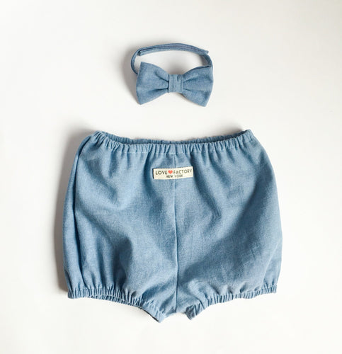 baby boy velcro bowties and bloomer set denim chambray-baby boy diaper cover and bowtie set-modern baby bloomers-baby pants-Love Factory NY