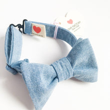 NYC kids pretied Bow tie denim chambray - lovefactorynewyork