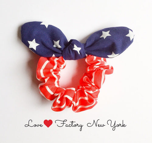 american flag hair scrunchies bunny ear bow - lovefactorynewyork