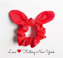 red Bunny ear bow hair scrunchies red-scrunchies-hair accessories-ponytail holder-hair tie with bow-chou chou-kawaii hair accessory-love - lovefactorynewyork