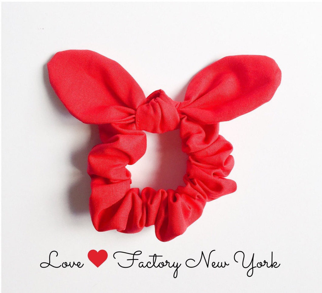 red Bunny ear bow hair scrunchies red-scrunchies-hair accessories-ponytail holder-hair tie with bow-chou chou-kawaii hair accessory-love