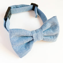Dog Bow tie Collar denim chambray-modern dog bowties-stylish dog collars-light blue dog bowties-kawaii dog bowtie-cat bowtie-love factory NY - lovefactorynewyork