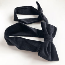 Matching headband mommy and baby girl velvet cotton bow - lovefactorynewyork