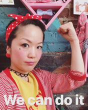 Vintage Retro Chic Girl power head wrap bunny bow on top polka dot red or blue - lovefactorynewyork