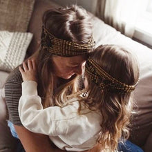 Matching headband turban style Mom and Daughter Boho mustard ethnic - lovefactorynewyork