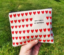 New York is my boyfriend silkscreen handmade pouch - lovefactorynewyork