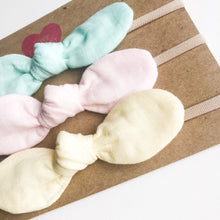 Baby toddler girl head band with bow sweet pastel 3pc set - lovefactorynewyork