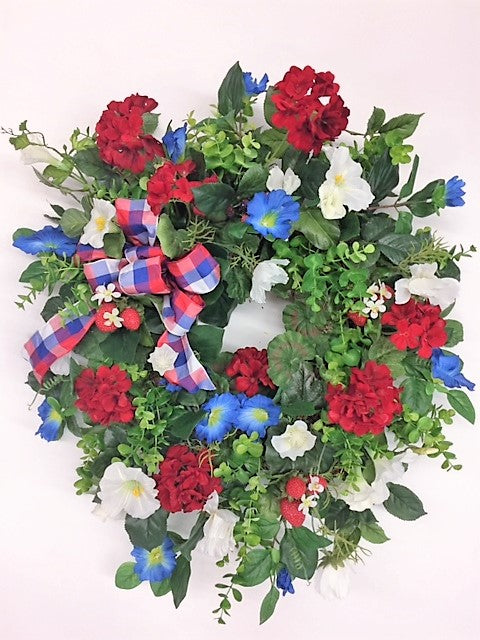 Red, White and Blue Silk Floral Americana Front Door Wreath/Am13