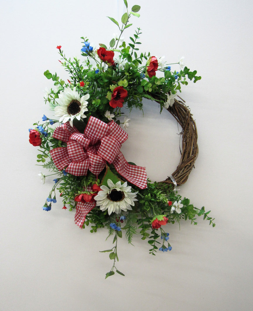 Red, Blue and Cream Silk Floral Americana Summer Wreath with Sunflowers/AMC23 - April's Garden Wreath
