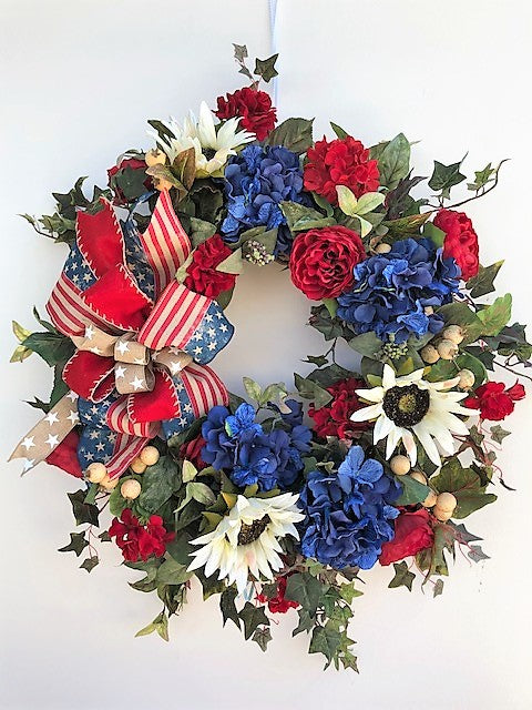 Red, Cream and Navy Silk Floral Americana Wreath with Sunflowers/AMC29 - April's Garden Wreath