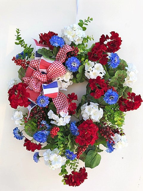 Cream, Red and Blue Silk Floral Americana Summer Wreath/AMC30 - April's Garden Wreath