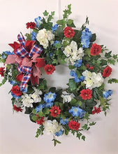 Red, White and Blue Silk Floral Summer Americana Wreath/AMC33 - April's Garden Wreath