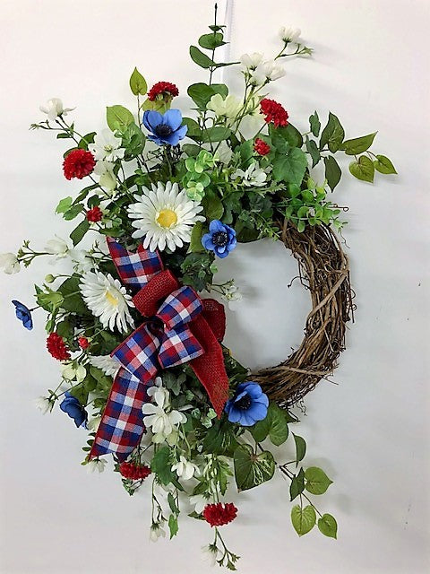 Red, White and Blue Silk Floral Crescent Americana Wreath/AMC34 - April's Garden Wreath