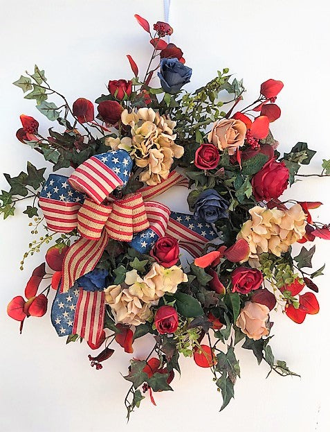 Red, Navy and Taupe Silk Floral Americana Wreath with Hydrangeas/AMC35 - April's Garden Wreath
