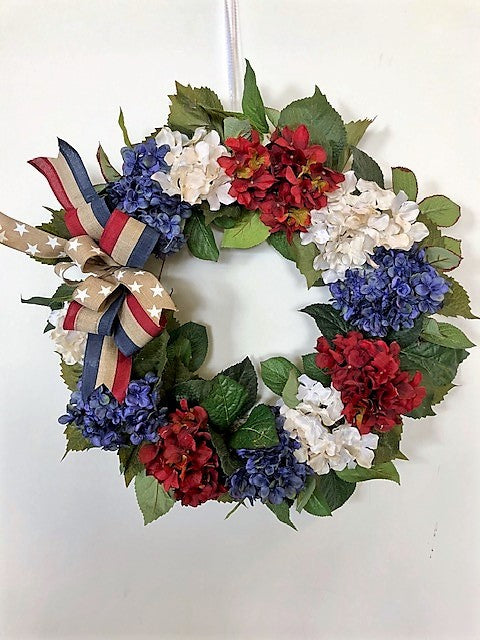 Red, Cream, Navy Silk Floral Americana Hydrangea Wreath/AMC39 - April's Garden Wreath