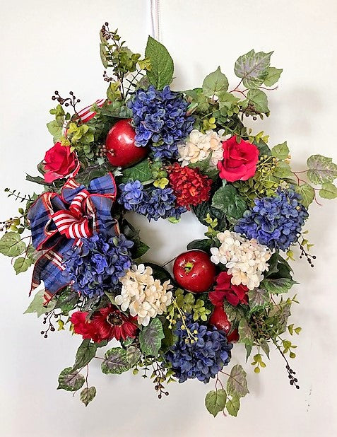 Red, Navy, and White Americana Summer Wreath with Apples/AMC40 - April's Garden Wreath