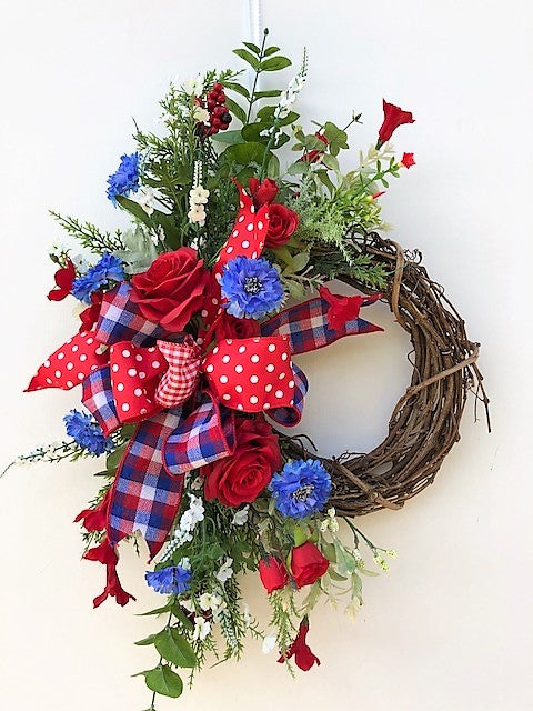 Red and Blue Silk Floral Petite Americana Crescent Wreath/AMC41 - April's Garden Wreath