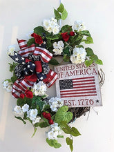 Red, White and Navy Silk Floral Americana Wreath with USA Plaque/AMC42 - April's Garden Wreath