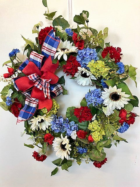 Red, White and Blue Silk Floral Summer Americana Front Door Wreath/AMC43 - April's Garden Wreath