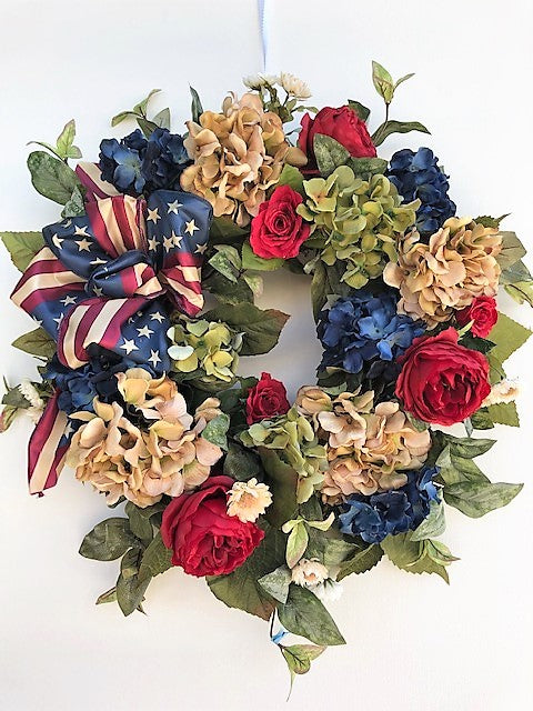 Red, Taupe, Navy and Green Silk Floral Americana Hydrangea Wreath/AMC44 - April's Garden Wreath