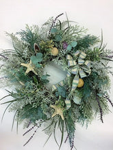 Blue/Green and Gray Silk Floral Beach Inspired Wreath/AV12 - April's Garden Wreath