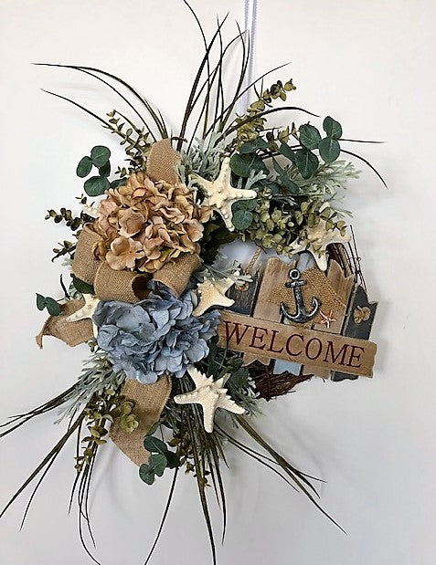 Blue and Beige Silk Floral Beach Inspired Hydrangea Wreath w. Welcome Plaque/AV18 - April's Garden Wreath