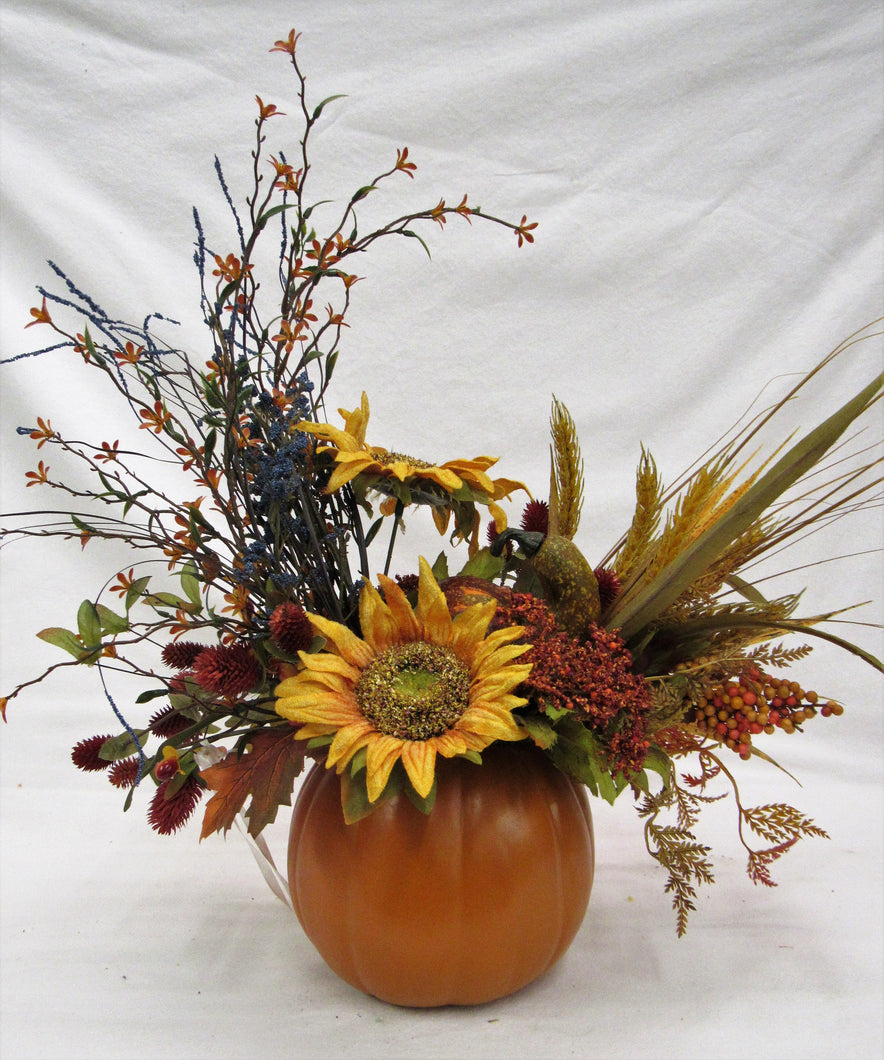 Fall Silk Floral Sunflower Arrangement in Pumpkin/BH06 - April's Garden Wreath