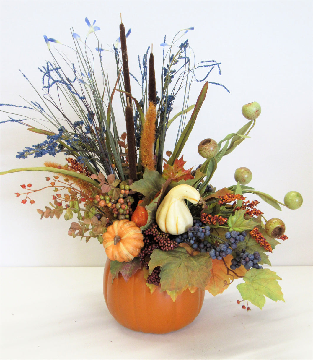 Cream and Olive Silk Floral Fall Arrangement in a Pumpkin Containter/BA07 - April's Garden Wreath