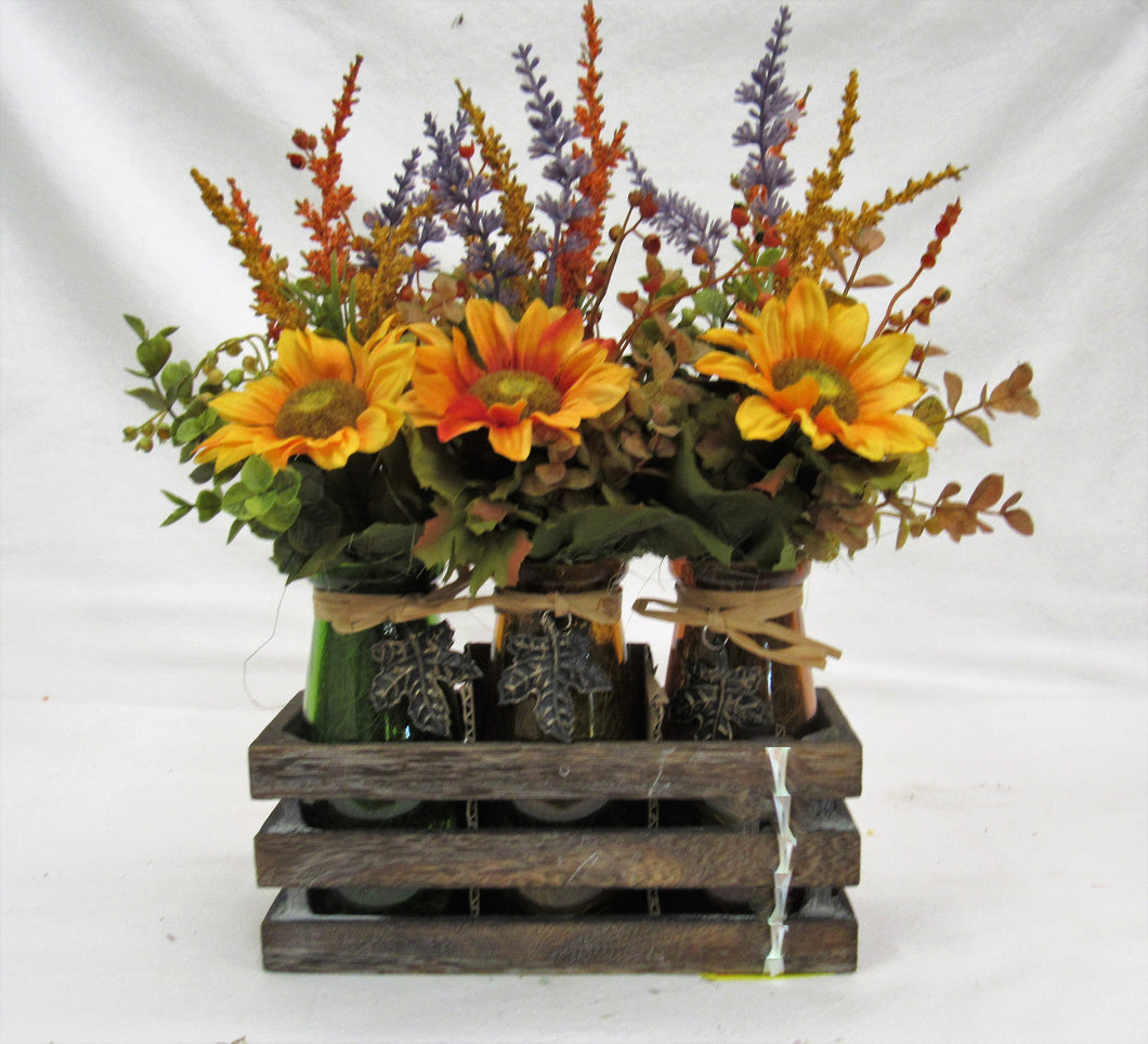 Fall Silk Floral Sunflower Arrangment in Glass Bottles with Wooden Tray/BH09 - April's Garden Wreath