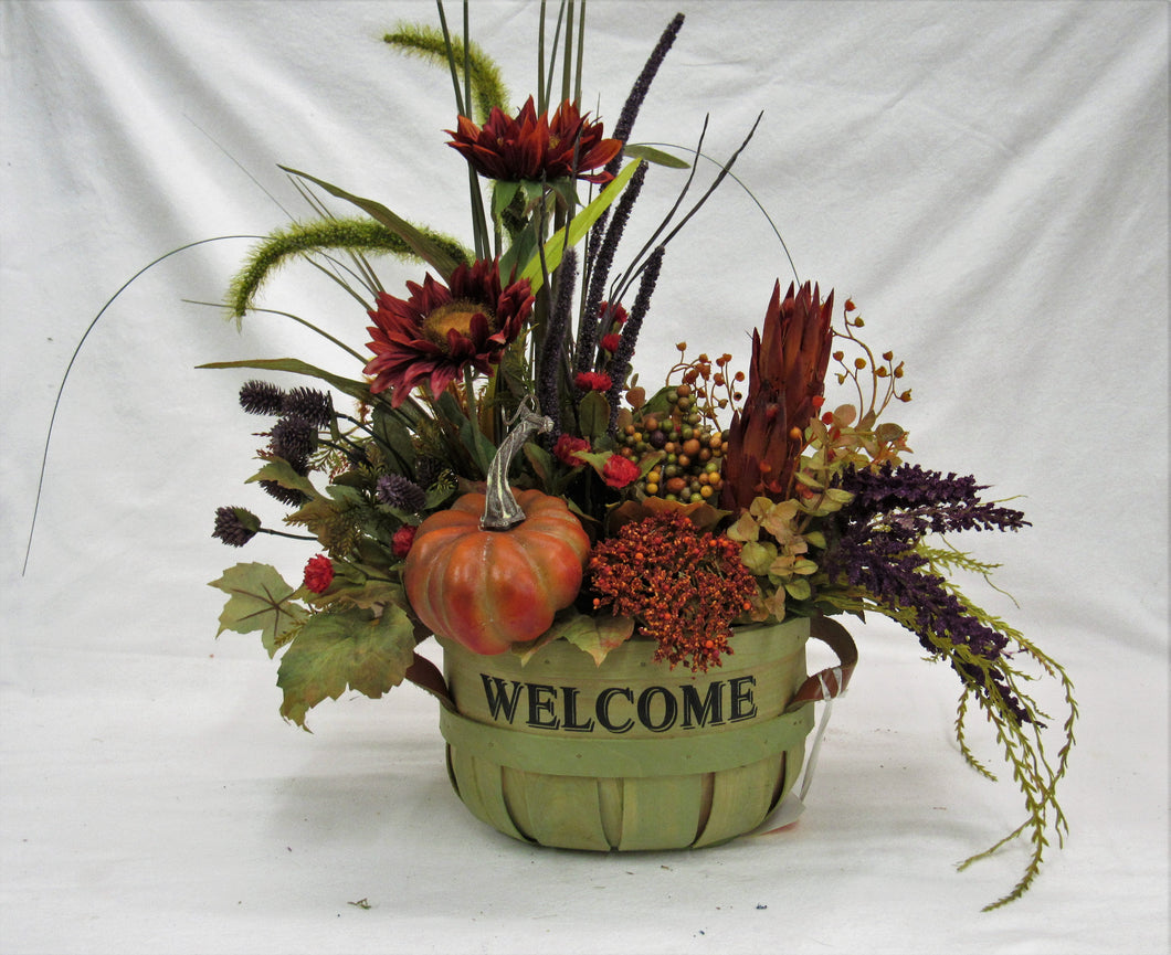 Orange and Burgundy Silk Floral Fall Arrangement in a Welcome Basket/ BH17 - April's Garden