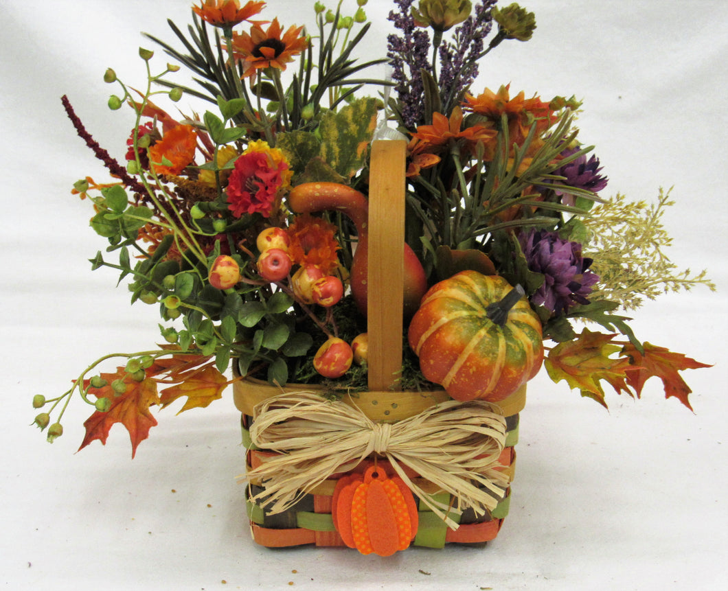 Fall Silk Floral Arrangement in Mini Fall Basket with Pumpkin/BH19 - April's Garden Wreath