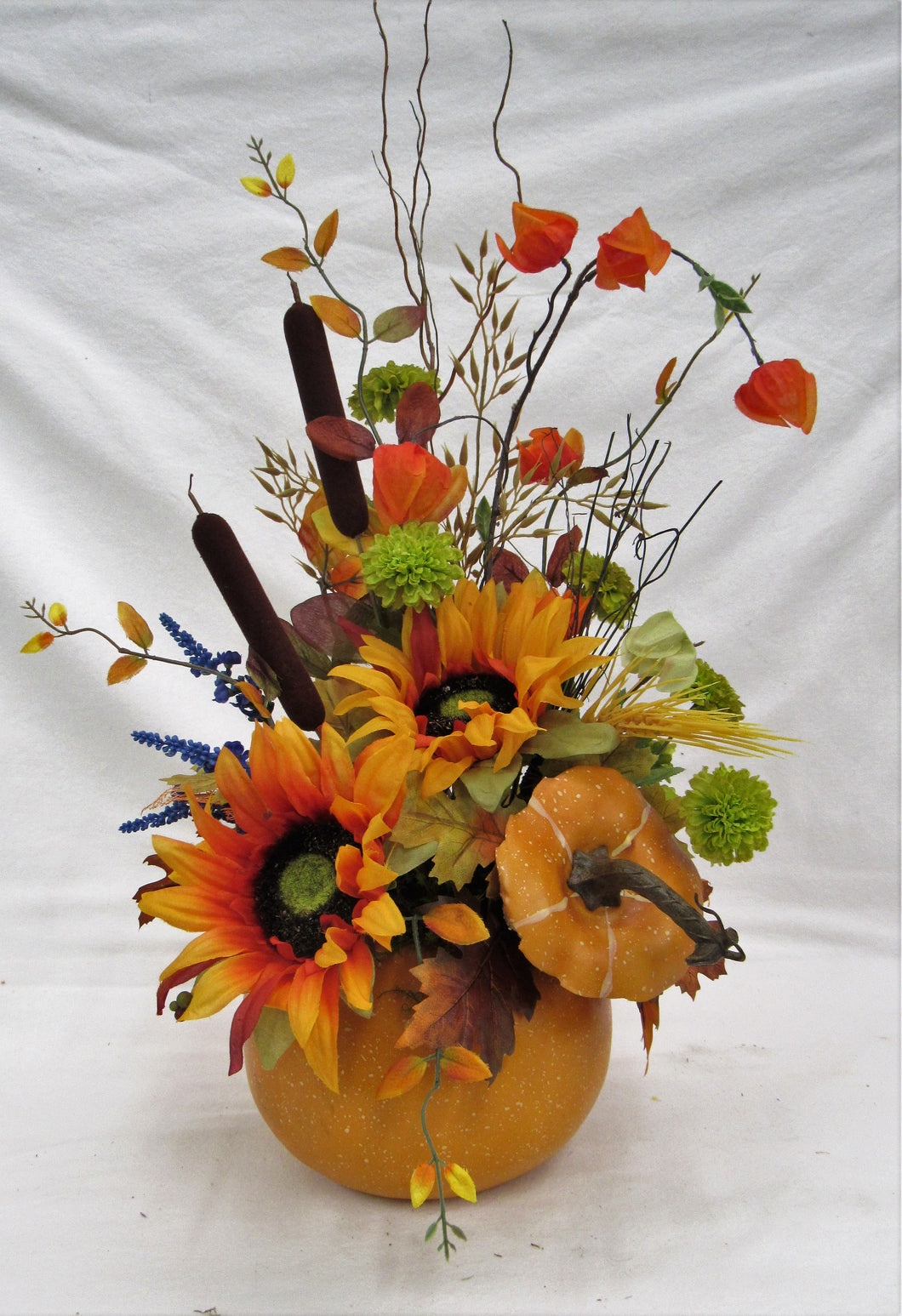 Orange/Gold Sunflower Fall Silk Floral Arrangement in Pumpkin/BH23 - April's Garden Wreath