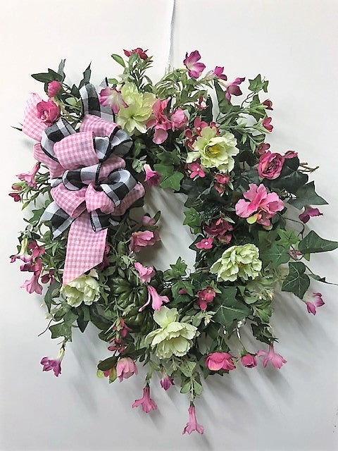 Pink and Light Green Silk Floral Spring Wreath/Eng03 - April's Garden Wreath