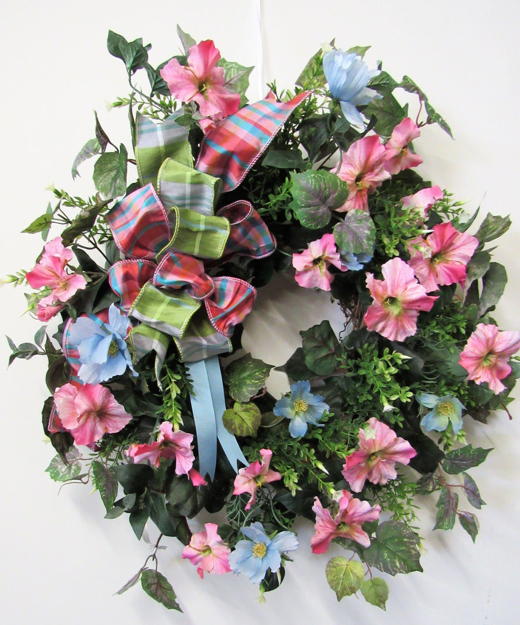 Pink and Blue Silk Floral Spring Wreath/Eng100 - April's Garden Wreath