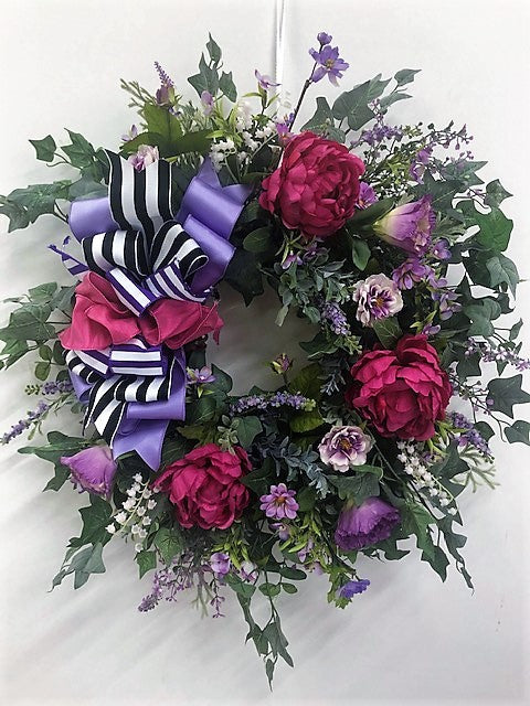 Pink and Lavender Silk Floral Spring Wreath/Eng128 - April's Garden Wreath