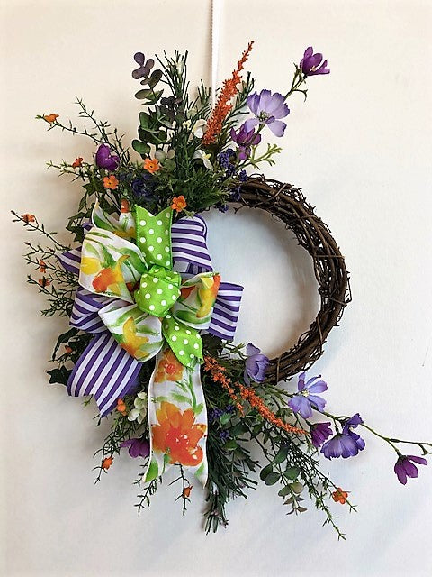 Purple And Coral Silk Floral Spring Crescent Front Door Wreath