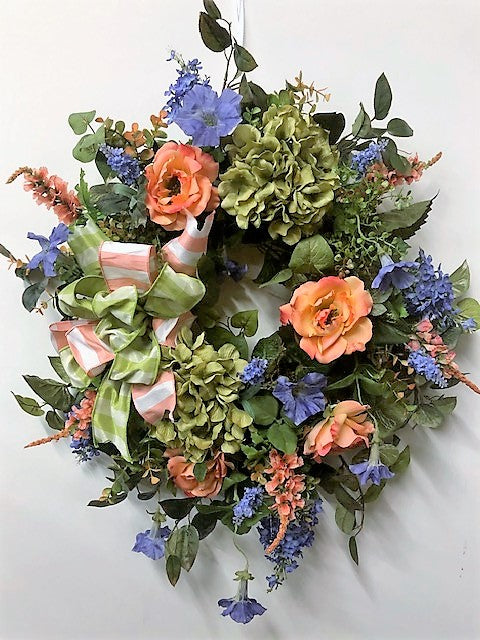 Coral and Green Silk Floral Spring Summer Wreath/Eng133 - April's Garden Wreath