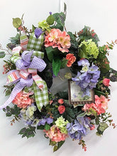 Pink and Purple Hydrangea Silk Floral Spring Wreath w. Spring Plaque/Eng140 - April's Garden Wreath