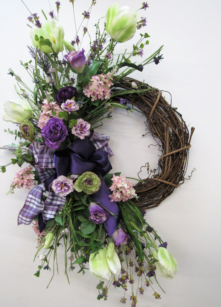 Purple, Pink and Cream Silk Floral Large Crescent Spring Wreath/Eng147 - April's Garden Wreath
