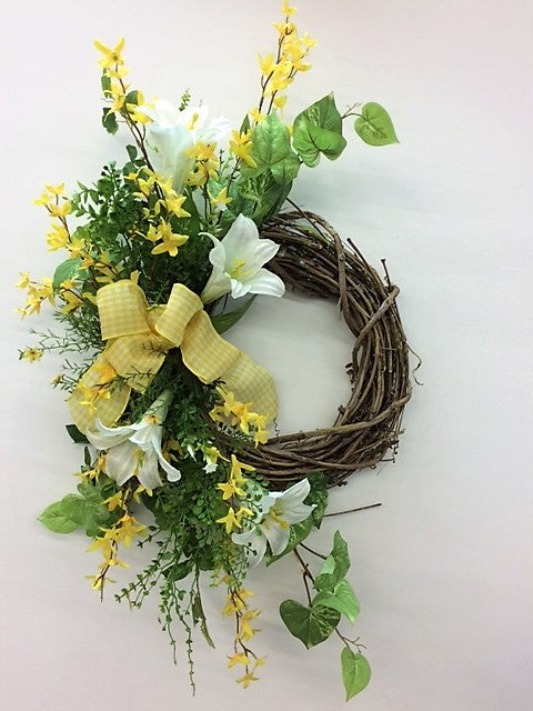 Yellow and Cream Silk Floral Spring Crescent Wreath/Eng149 - April's Garden Wreath