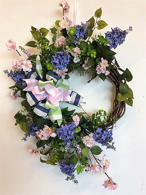 Periwinkle and Pink Silk Floral Spring Crescent Wreath/Eng150 - April's Garden Wreath