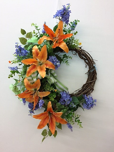 Orange and White Lily Silk Floral Spring Crescent Wreath/Eng151 - April's Garden Wreath