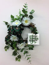 Green and White Silk Floral St. Patricks Crescent Front Door Wreath with Plaque/Eng153 - April's Garden Wreath
