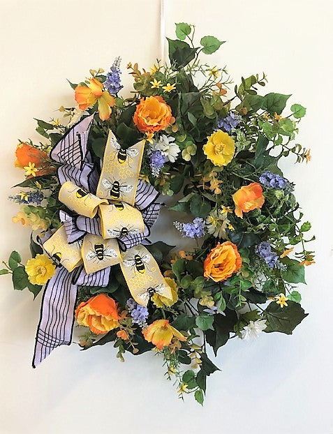Orange, Yellow  and Cream Silk Floral Spring Wreath/Eng156