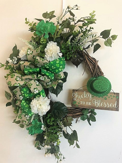 Green and White Silk Floral St. Patricks Day Front Door Crescent Wreath with Plaque/Eng157 - April's Garden Wreath