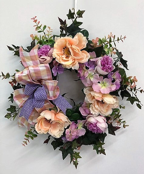 Coral, Lavender and Pink Silk Floral Spring Front Door Wreath/Eng159 - April's Garden Wreath