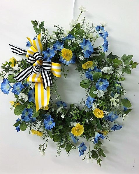 Blue and Yellow Silk Floral Spring Summer Front Door Wreath/Eng15 - April's Garden Wreath