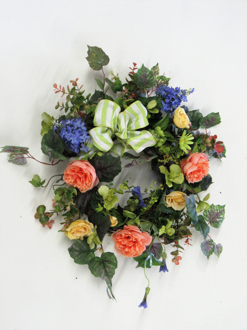 Peach, Lavender and Yellow Silk Floral Petite Spring Wreath/Eng162 - April's Garden Wreath